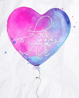Watercolor love air balloon