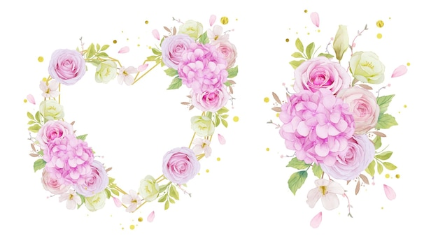 Акварельная любовная рамка и букет из розовых роз и цветок гортензии