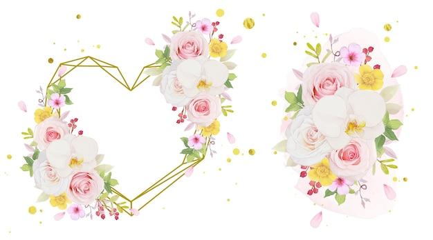 ピンクのバラと蘭の水彩画の愛の花輪と花束