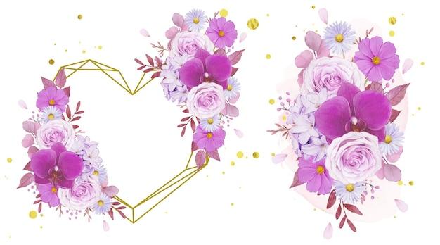 Акварельный любовный венок и букет из фиолетовых роз и орхидей