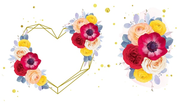 Watercolor love wreath and bouquet of red rose anemone and ranunculus flower