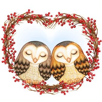 Watercolor lovely barn owls sleeping on a heart wreath