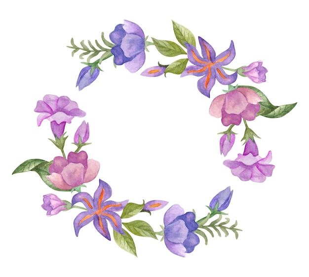 Watercolor lovely colorful spring floral frame