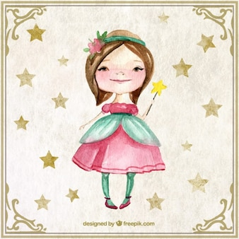 Watercolor lovely fairy with a wand