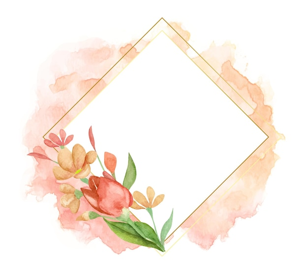 スプラッシュと水彩の素敵な花のフレームデザイン