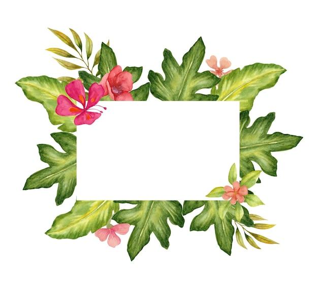 熱帯の葉と水彩の素敵な花のフレームデザイン