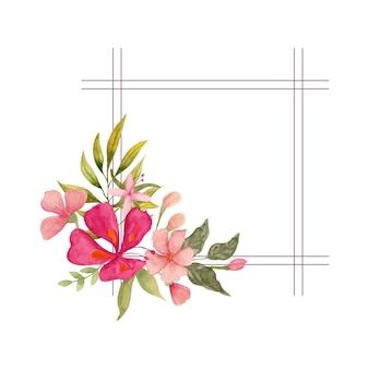 水彩の素敵な花柄のフレームデザイン