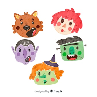 Watercolor lovely halloween character collection