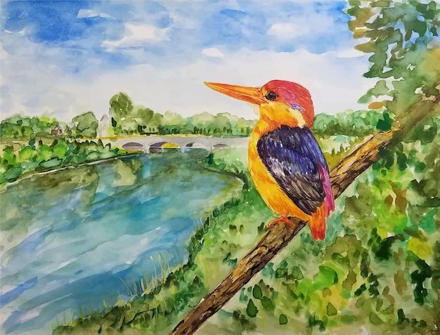 수채화 사랑스러운 작은 새 그림