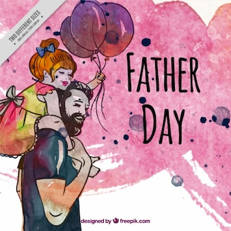 彼の娘を持つ父親の水彩美しいシーン