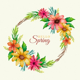 水彩の素敵な春の花のフレーム