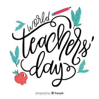 Watercolor lovely world teachers' day composition