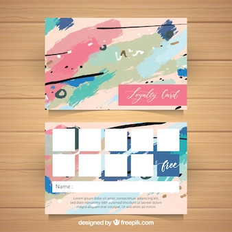 Watercolor loyalty card template with colorful style