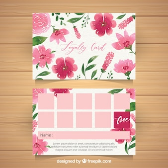 Watercolor loyalty card template with floral style