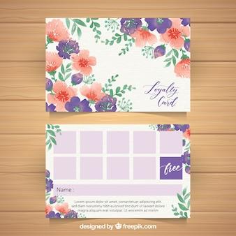 꽃 스타일으로 수채화 충성도 카드 템플릿