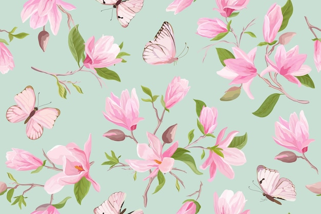 水彩マグノリア花のシームレスなベクトルパターン。蝶、夏のモクレンの花、葉、花の背景。春の結婚式の日本の壁紙、生地、プリント、招待状、背景、カバー