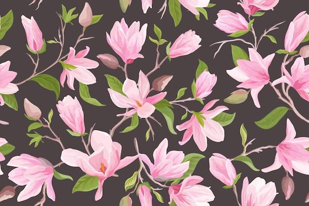 Акварель магнолия цветочные бесшовные векторные шаблон. цветы магнолии, листья, лепестки, цветущий фон. весенне-летние свадебные японские обои, на ткань, принты, приглашение, фон, обложка