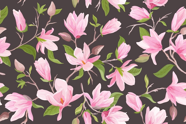 Watercolor magnolia floral seamless vector pattern. magnolia flowers, leaves, petals, blossom background. spring and summer wedding japanese wallpaper, for fabric, prints, invitation, backdrop, cover