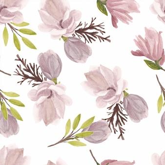 水彩マグノリアの花のシームレスパターン