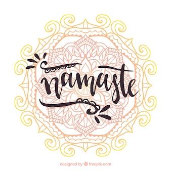 Watercolor mandala background and namaste greeting
