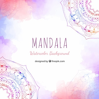 Watercolor mandala background with lovely style