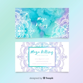 Watercolor mandala business card template
