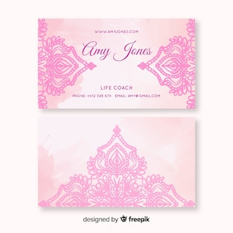 Watercolor mandala business card