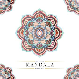 水彩画の曼荼羅のパントーンの背景