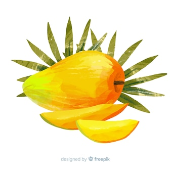 Watercolor mango and leaves background
