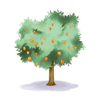 과일과 녹색 잎 수채화 망고 나무