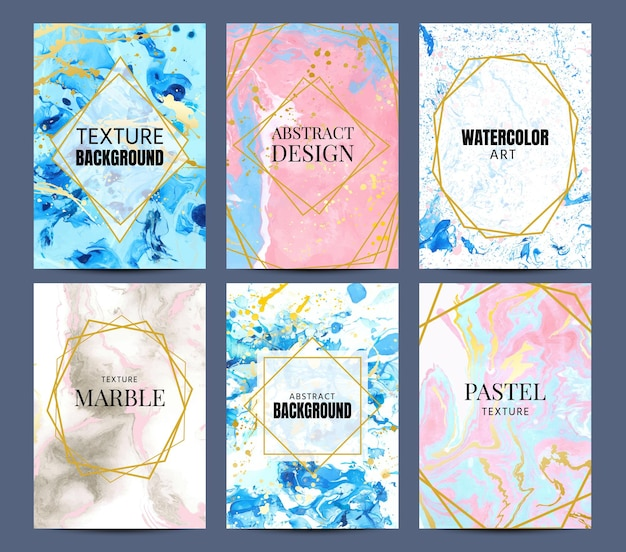 Watercolor marble posters. abstract pastel texture with gold geometric frame and splash. elegant template for cover or invitation vector set. illustration effect marble and watercolor for banner