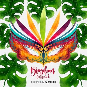 Акварельная маска бразильский карнавал фон Бесплатные векторы