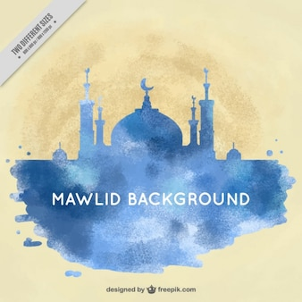 Watercolor mawlid background