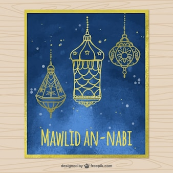 Watercolor mawlid card with golden lanterns
