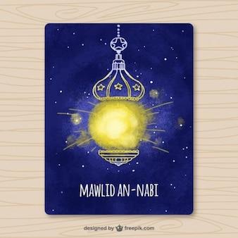 Watercolor mawlid card with ornamental lantern