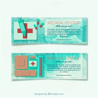 Watercolor medical banners