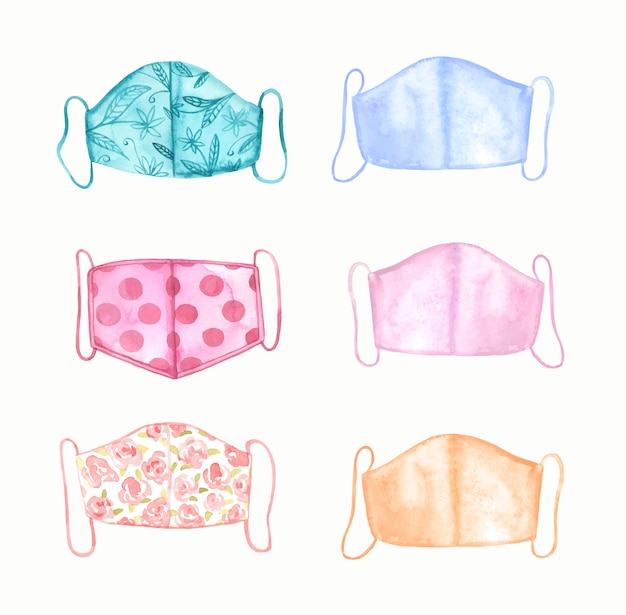 Watercolor medical cotton face masks.