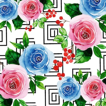 Watercolor memphis floral background