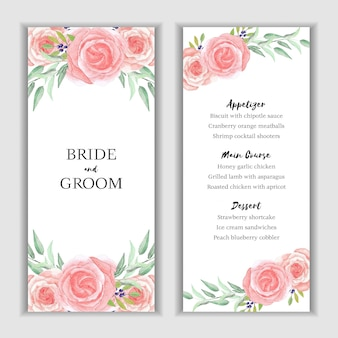 Watercolor menu card template with rose decoration