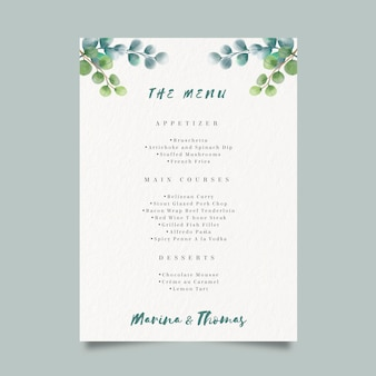 Watercolor menu template for wedding