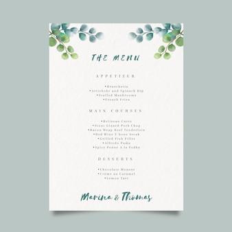 Modello di menu dell'acquerello per il matrimonio