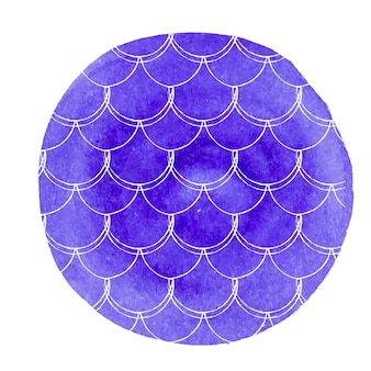 Watercolor mermaid background. hand drawn round backdrop with fish scale ornament. bright colors. watercolor mermaid tail banner and invitation. girl underwater and sea pattern. blue vector.