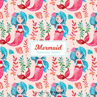 Watercolor mermaid pattern