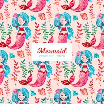 Watercolor mermaid pattern