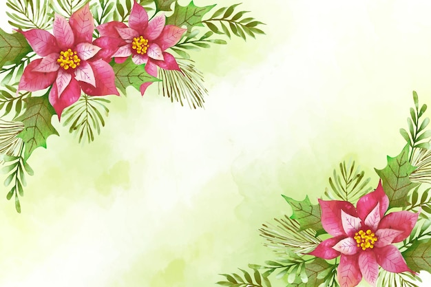 Watercolor merry christmas background concept