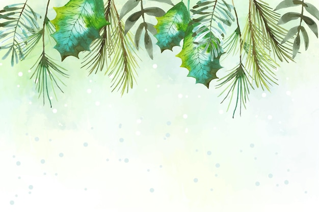 Watercolor merry christmas background theme