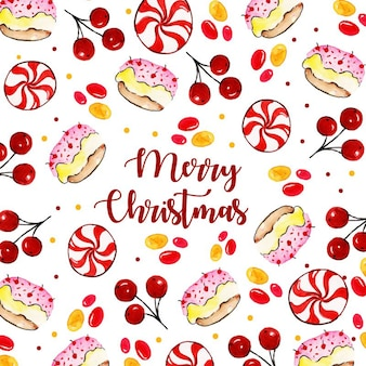Watercolor merry christmas background