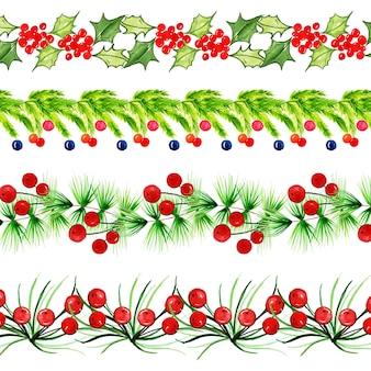 水彩メリークリスマスボーダーコレクション