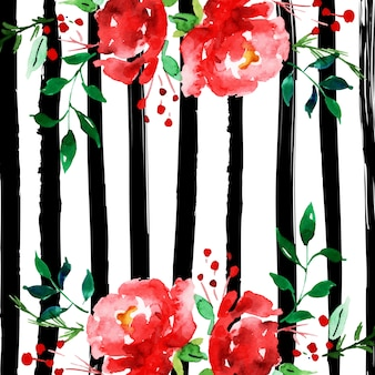 Watercolor Merry Christmas Floral Background with Stripes