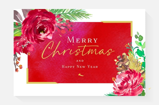 Watercolor merry christmas and happy new year card